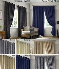 Woven Jacquard Curtains Leaf Fully Lined Eyelet OR Pencil Pleat Silver Cream