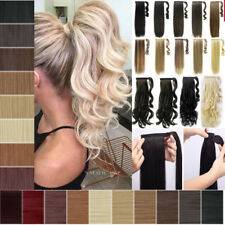 100% Real Natural Human Made Clip In Hair Extension Pony Tail Wrap Ponytail AK7