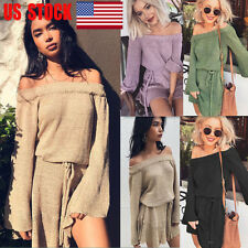 US Womens Off Shoulder Lace Up Waist Long Sleeve Knitted Party Flared Mini Dress