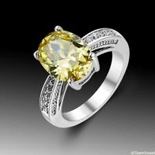 Wedding Woman Jewelry Oval Citrine 925 Sterling Silver Gemstone Ring size 7 8 9
