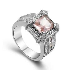 Fashion Jewelry Morganite 925 Sterling Silver Wedding Party Ring size 7 8 9