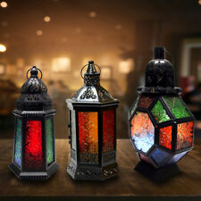 Moroccan Lantern Candle Holder Tealight Ornament Lamp Metal Glass