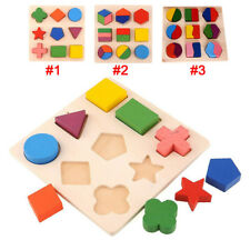 Puzzle Jigsaw Puzzle Montessori Wooden Kids Baby Learning Geometry Educational