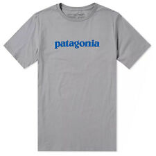 Patagonia Mens - Text Logo Organic Cotton T-shirt - Feather Grey