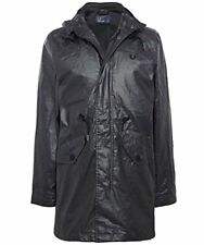 Fred Perry Men's Coated Fishtail Parka Anthracite