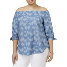 INC 7518 Womens Printed Off the Shoulder Tie Sleeve Casual Top Blouse Plus BHFO
