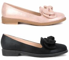 WOMENS LADIES FLAT BALLERINA CASUAL SLIP ON BOW SKATER PUMPS SHOES SIZE 3-8