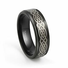 8mm Men Tungsten Carbide Black Wedding Band Ring Laser Etched Celtic Knot Design