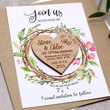 Save The Date Cards Wooden Wedding Magnets Personalised Wood Fridge Rustic Heart