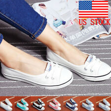 Womens Ladies Summer Casual Canvas Shoes Pumps Slip On Flat Lace Up Loafers Size