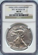 2011 W 25th Anniversary Silver American Eagle NGC Graded MS 70 - Brown Label