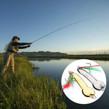 1 Pcs Spoon Fishing Lure 5g-20g With Feather Hooks Gold/Silver Metal Bait Tackle