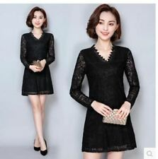 Women Long Sleeve V Neck Casual Wear Knee-length Slim Mesh Lace Dress