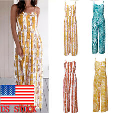Womens Summer Wide Leg Button Sleeveless Jumpsuit Beach Playsuit Romper Clothes