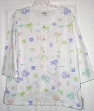 PALM GROVE KNIT SHIRT/JACKET SIZE M - PM - 1X WHITE GREEN BLACK BLUE FISH PRINT