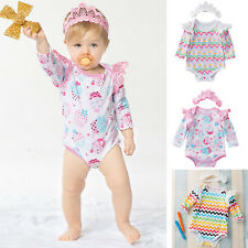 Newborn Infant Kids Baby Girl Romper Jumpsuit Bodysuit Long Sleeves Clothes New