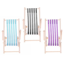 Striped Wooden Mini Foldable Lounge Chair 1/12 Dollhouse Miniature Furniture