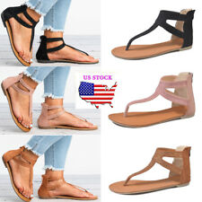 Womens Rhinestone T-Strap Thong Ankle Strap Gladiator Flat Sandals Summer Shoes