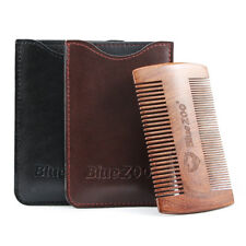Men Beard Comb for Head Hair Beard  Mustache with Gift PU Leather Case