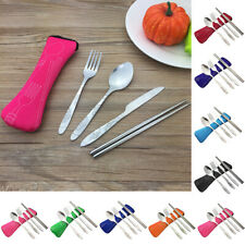 4 Pcs Portable Stainless Steel Knife Fork Spoon Chopsticks Camping Cutlery Set D