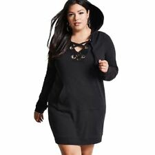 Women Long Sleeve Hollow Out Solid Color Lace Up Hoodies Sweatshirt Dress
