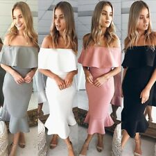 Womens Off The Shoulder High Low Bodycon Mermaid Evening Party Midi Dress US