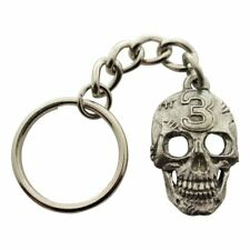 Lucky Number 3 Skull Keychain ~ Antiqued Pewter ~ Keychain