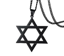 Vintage Amulet Jewish Hollow Out Hexagram Star of David Pendant Necklace
