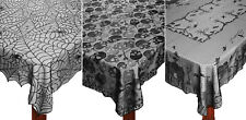 "Elegant Black Lace Tablecloth 60""x84"" Haunted House Skulls Spider Web Decoration"