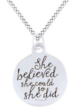 """She believed she could so she did"" Disc Pendant Necklace 925 Sterling Silver"