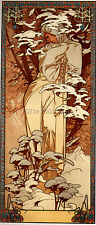 ALPHONSE MARIA MUCHA WINTER 1897 32X73CM PANEL ARTIST PAINTING OIL CANVAS REPRO