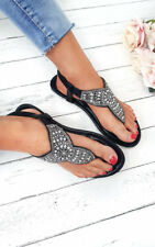 IKRUSH Womens Zania Diamante Embellished T-Bar Sandals