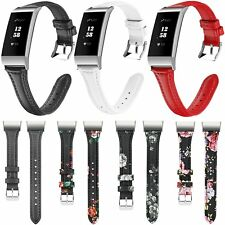 Genuine Leather Soft Bracelet Wristband Strap Classic Buckle for Fitbit Charge 3