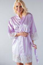 Women Kids Luxury Lace Robe Silk Satin Kimono bath Gown Wedding Bridesmaid Gift
