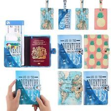 Retro Travel Passport Holder RFID Blocking Wallet Card Case Cover Luggage Tag CA