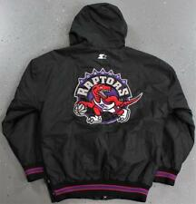 Starter Toronto Raptors NBA Black Hooded Jersey Big Logo Jacket Parka Size S