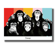 The Chimps Funny Monkey Face Fabric Poster Art TY92 - 20x30 24x36 Inch