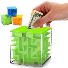 3D Magic Cube Piggy Bank Brain Maze Challenge. Labyrinth Toy Box 4 Kids & Adults