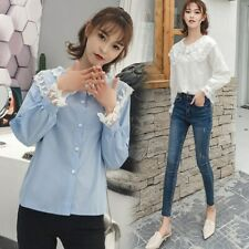Women Long Sleeved Lace Lapel Shirt Solid Color Doll Collar Sweet Casual Tops