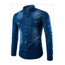 Mens Jean Slim Fit Long Sleeve Denim Shirt Casual Wash Tops Hot Button-Front Tee
