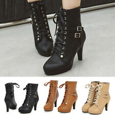 Womens Lace Up Comfort Buckle Strap Ladies Ankle Boots Spike High Heel Platform
