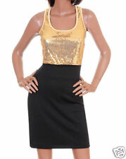 New Womens Day Evening Dress Black Gold Sequence S M L