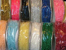 24 yard roll of 3MM Beads on a String Various Colors