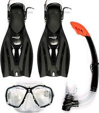 BP TBF ADULT COMBO FULL SET dive Mask Snorkel Fin flipper BLACK two bare feet
