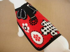 Red And Black Floral Fleece Dog Harness Coat