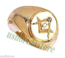 Mens Masonic Mason Oval White 18kt Gold Plated Ring