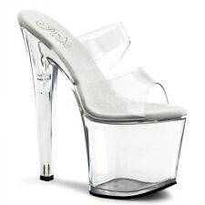 PLEASER TABOO-702 Sexy Stripper Platform Clear Heels