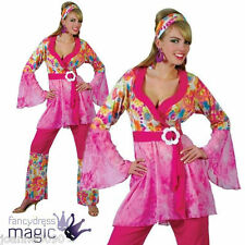 60s 70s GROOVY HIPPIE CHICK HIPPY LADY RETRO FLORAL FANCY DRESS COSTUME S L M XL