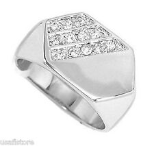 Mens Clear Stones Pave Flat Top Rhodium Plated Ring New