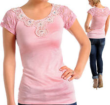 New Womens Shirt Blouse Top w Rhinestone Lace Pink S-L
